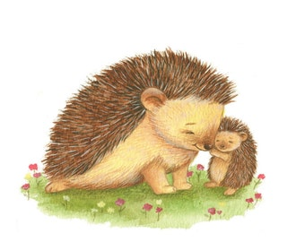 Mummy and Baby Hedgehogs, Art Print, Hedgehog Art, Nursery Decor, Newborn Art, Baby Gift, Watercolor Print, Cute Art Print, Kid's Art