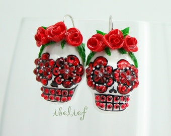 Skull in a-day is the day of the dead red rose earrings EP0022