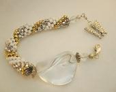 Bead Crochet Bracelet, Butterfly Bracelet  Gold, Silver & White