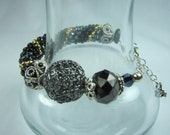 Black Onyx & Gold Crystal Bracelet