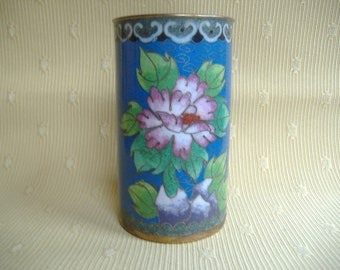 Chinese Cloisonne Floral Brush Pot