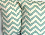 Spa Blue Pillow Cover - Chevron, 18x18 or 20x20 inch Decorative Throw Cushion Cover - Aqua Blue and Natural Zig Zag