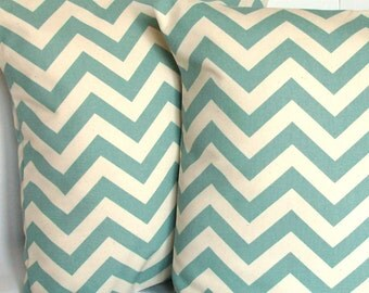 SALE Spa Blue Pillow Cover - Chevron, 18x18 or 20x20 inch Decorative Throw Cushion Cover - Aqua Blue and Natural Zig Zag