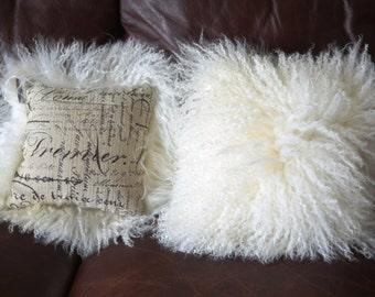 "Pair of 10"" Squares Contemporary Modern Mongolian Lamb Fur Pillows  Natural White"