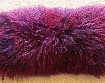 16x20 Raspberry Mongolian lamb fur pillow Tibetan genuine Fur