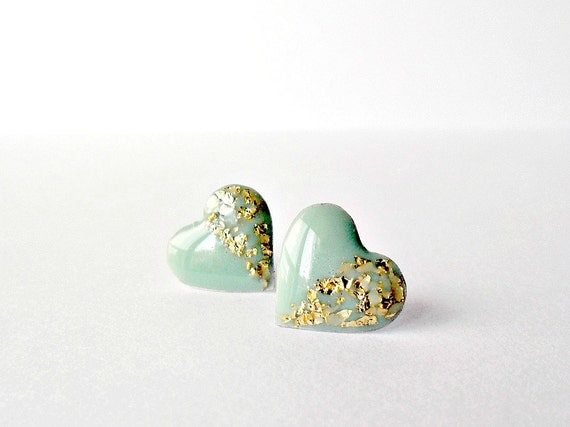 Mint green heart studs, resin heart post earrings with gold foil, mint gold jewelry