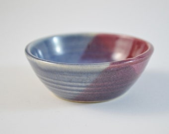 """IN STOCK, Miniature Pottery, Tiny Hand Thrown Bowl, , Blue Burgundy, 3/4"""" tall"""