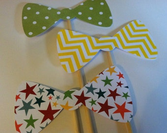 3 Bow ties on a sticks, Wedding photo props, photo booth props