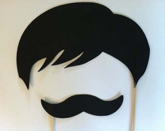 Mustache and wig on a stick, Wedding photo props, photo booth props (Wig collection)