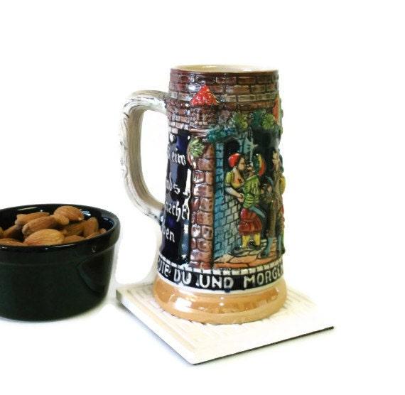 Vintage Beer Stein, Small Beer Mug, West German Beer Stein, .25l, German Drinking Mug, Vintage Serving