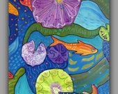 "ORIGINAL Abstract Goldfish Koi Pond Acrylic Contemporary Painting. 24"" x 30"""