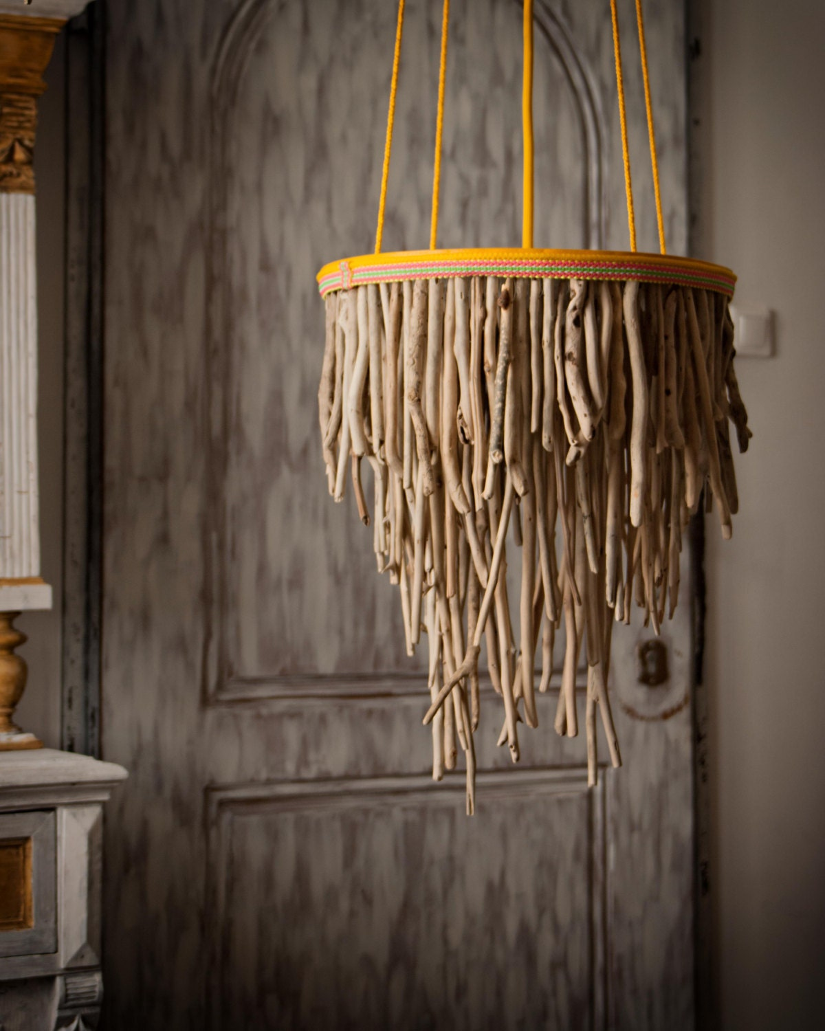 driftwood hanging light chandelier three tier round driftwood