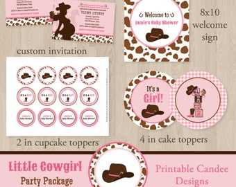 Cowgirl Baby Shower Package - Cowgirl Baby - Girl Baby Shower - Western Baby Shower - Rustic Baby Shower - Printable Cowgirl Baby Shower