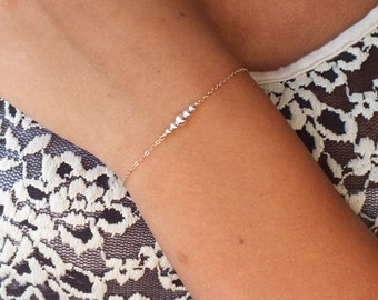 Gold Filled or Sterling Bead Bracelet - Dainty Gold Filled Bracelet - Mix Metal Minimalist Bracelet - Two Toned Bracelet