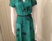 Vintage 80's Sherry Holt for Sunshine Emerald Green Rayon dress