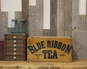 Vintage Blue Ribbon Tea Wooden Crate