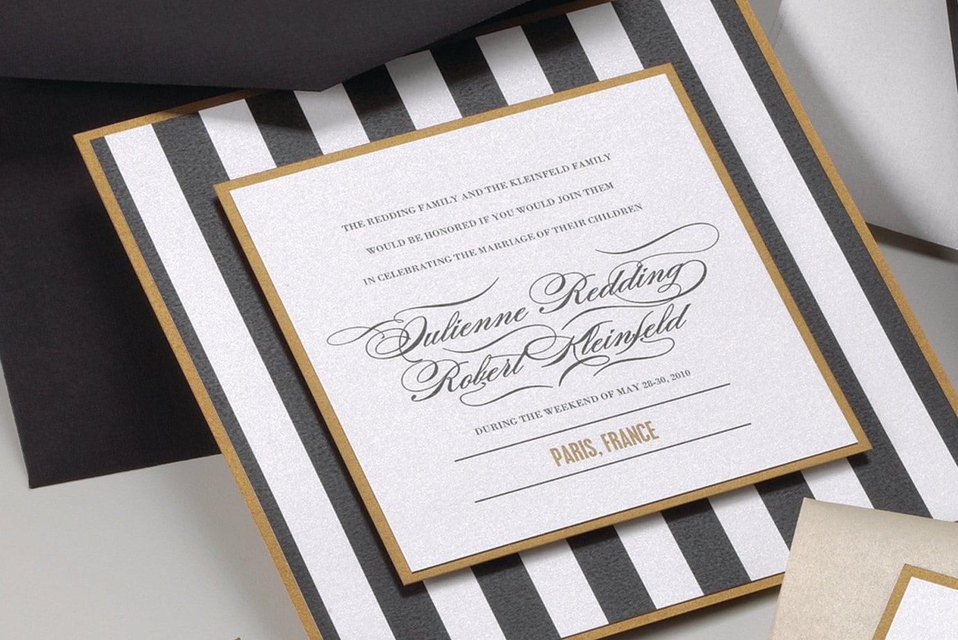 White Wedding Invitations: Stripe Black White And Gold Wedding Invitation By MilanoInk