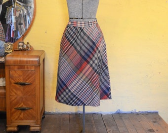 Vintage Rainbow Plaid Wool Skirt Button Front S