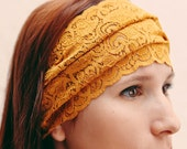 READY TO SHIP Today Gold Floral Leaf Lace Headband Stretch Lace Wide Headband