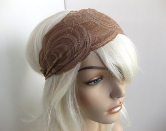 Mocha Coffee Swirls Stretch Lace Headband Womens Headband Taupe Headband Brown Head Wrap Women's Hairband Hair Accessory Womens Gift for Her