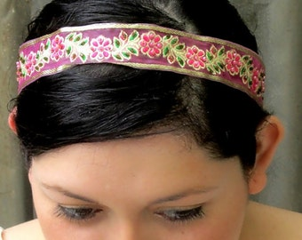 Floral vine hairband, gold and pink, flower girl, formal party prom, woodland forest leaf, bead headband, Greek goddess, sequin headband