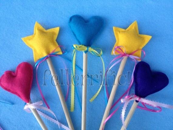 One Felt Fairy Princess Wand Star or Heart