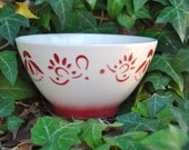 Sale on Cafe Au Lait Bowl in Red and Cream from France by Luneville