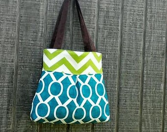 Handbag Purse Tote Bag in Blue and Green