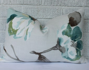 Floral Pillow Cover Cream, Grey Yellow Green Teal Rectangular Lumbar Pillow
