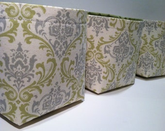 Mini Fabric Storage Basket Bin Organizer Storage Containers (Set of 3)-Sage Green and Gray Damask with Solid Sage Green Interior