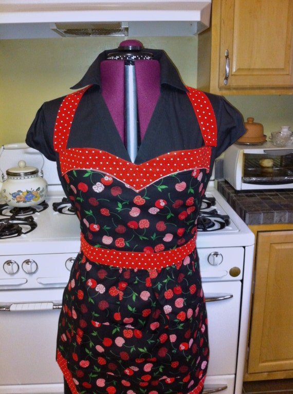 VALENTINE SALE Black Cherry, Red with White Polka Dots Full Sweetheart Apron
