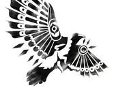 black and white RAVEN / CROW SHAMAN spiritual dance tribal art stencil 8x10