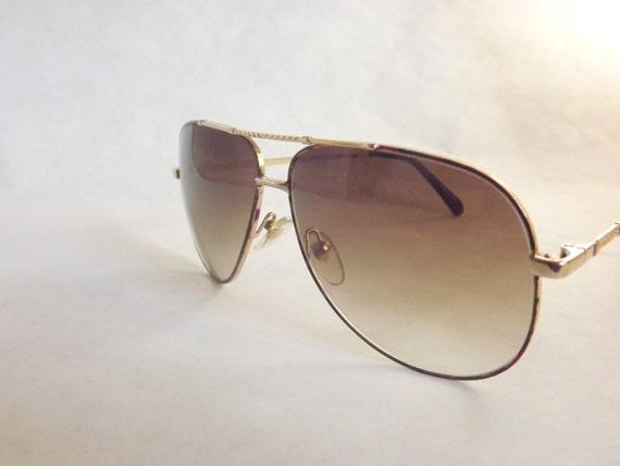 Gold Tortoise Shell Aviator Sunglasses / Mens Rad Vintage 80s New Old Stock