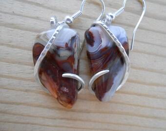 Jasper Silver Wrapped Earrings