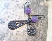 Amethyst Flower Earrings Black Arte Metal