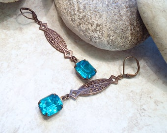 Antique Brass Embossed Filigree Crystal Earrings