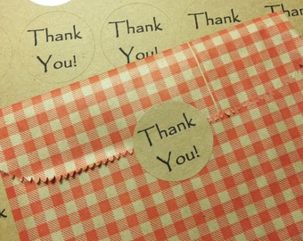"Thank You Stickers, 60 1.5"" Thank You Vintage Font Kraft Stickers, Round Peel and Stick"