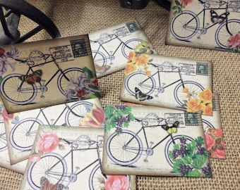 "Bicycles & Flowers Tags, 9 Cards or Stickers (you choose) 3.5"" x 2.5"". Scrapbooks, Gifts, Journals, Crafts. SHIPS FOR  FREE"