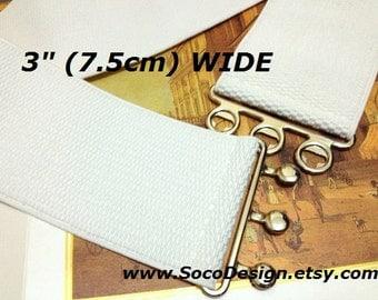"""White belt, White Elastic belt, Stretch Belt,  3"""" wide, White belt, White elastic belt, White stretch belt for Dress"""