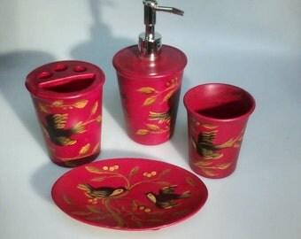 Red 'Nightengale' Ceramic Bathroom Set