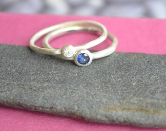 Mother and Child Stacking Birthstone Ring Set in Sterling Silver