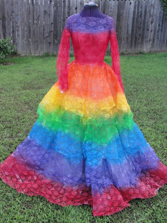 Hand painted rainbow vintage 1950s layered lace wedding gown