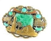 Max Neiger Brooch Egyptian Revival Czech Glass Brass 1930s Gablonz Rare Item