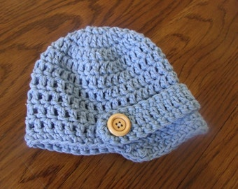 Crochet baby boy newsboy hat with wooden buttons light blue 0-3 months, 3-6, 6-12