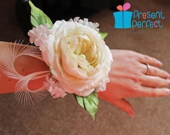 SAMPLE SALE flower wrist corsage, prom wrist corsage, fabric flower bracelet