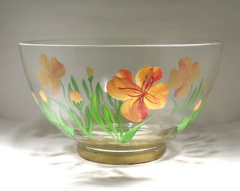 Hand Decorated Retro Glass Bowl - Retro Fruit Bowl - Retro Salad Bowl - Retro Kitchen Decor - Orange Pansies - Floral Glass Serving Bowl