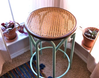 Round Woven Cane Accent Table in Mint