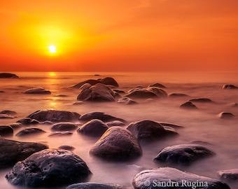 Nature sunset wall art, beach decor, sunset rocks on the Baltic Sea, Estonia, art landscape photography, print to frame for a wall, Estonia