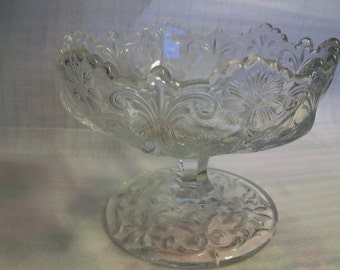 Pedestal Candy Dish,1940s, Vintage, embossed pattern, heavy, excellent condition, private collection