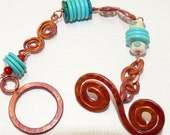 Fire Copper Coral and Turquoise Southwestern Bracelet